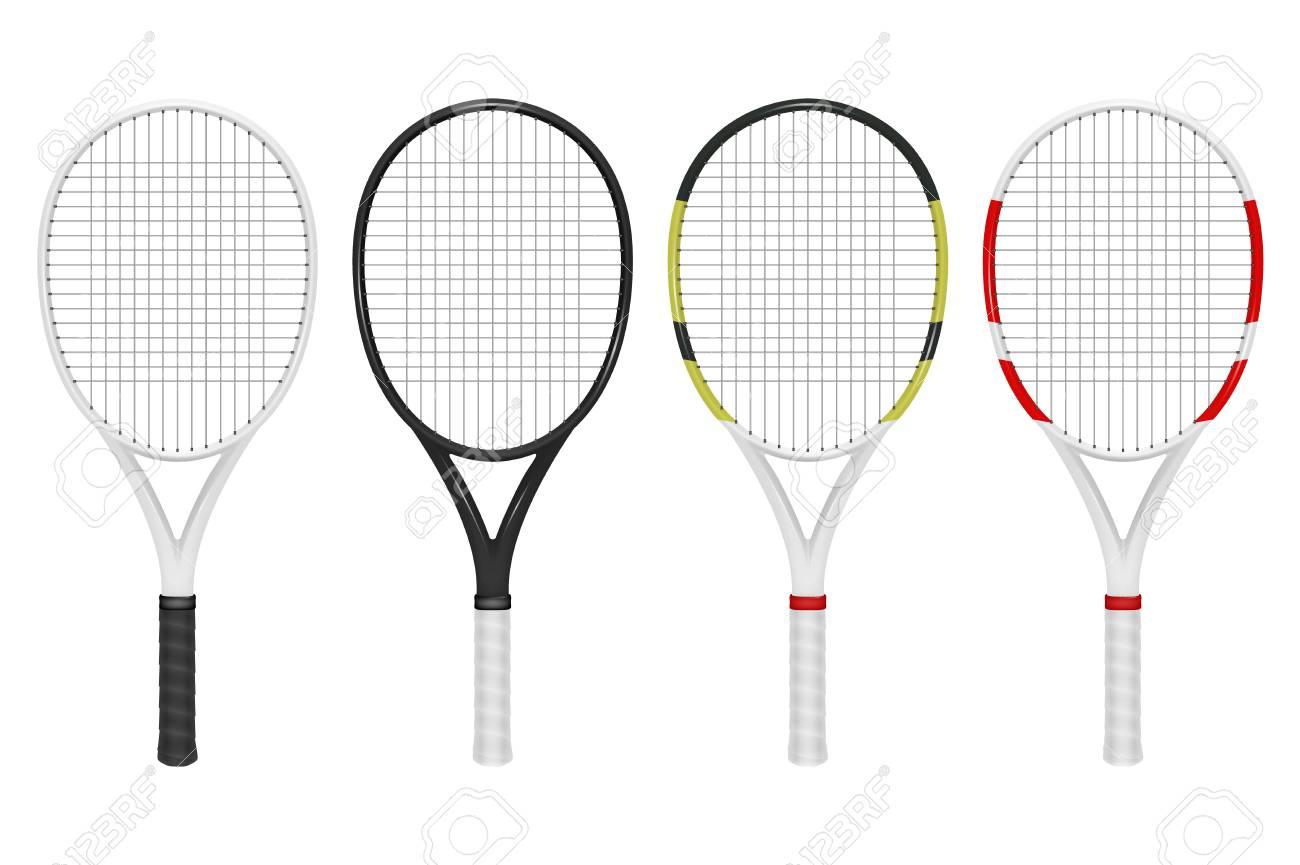 Vector Conjunto De Raqueta De Tenis Realista, Closeup Aislado Sobre ...