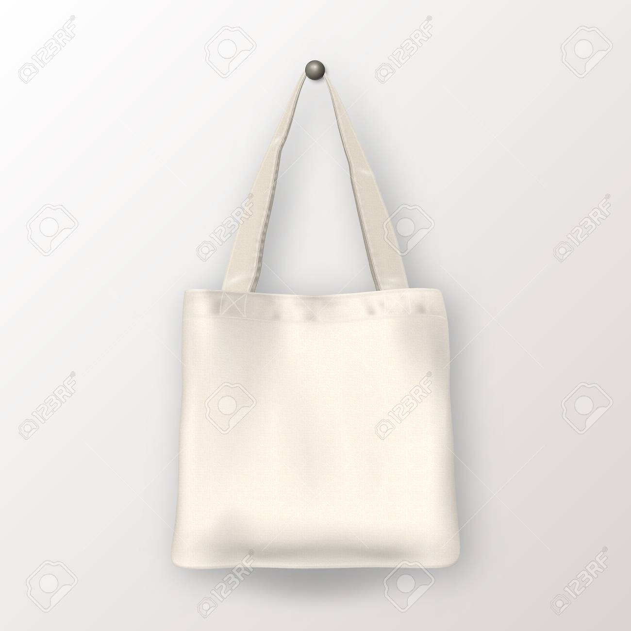 Realistic Vector White Empty Textile Tote Bag Closeup Isolated