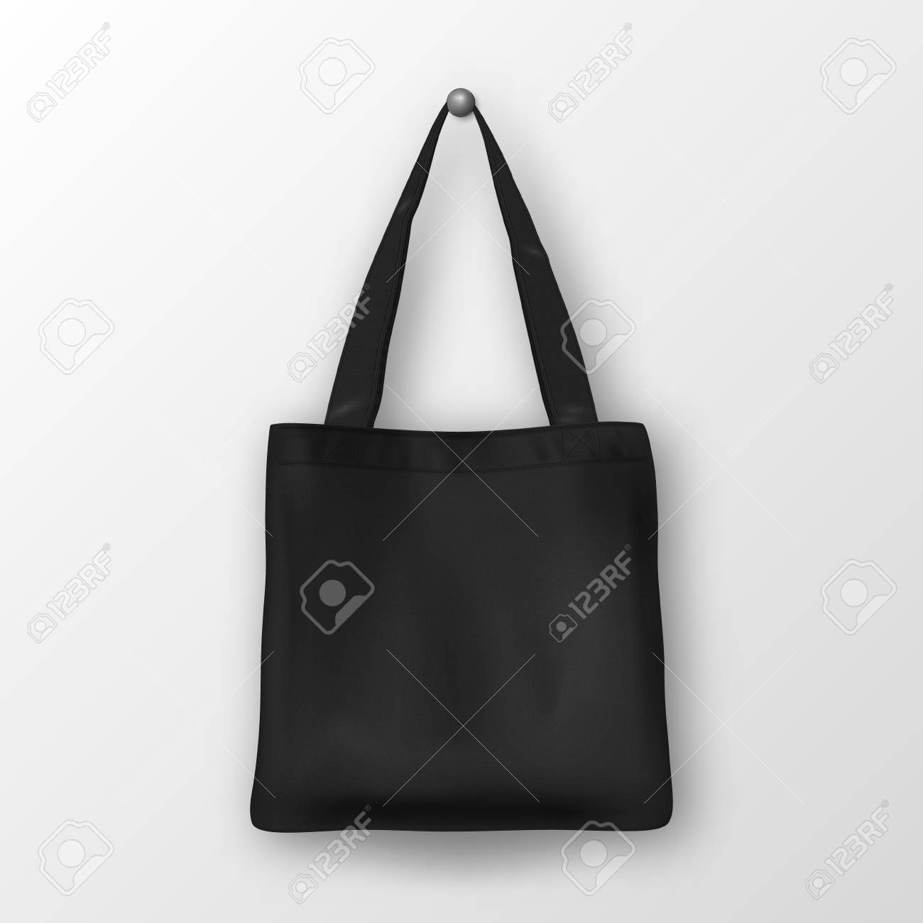 Realistic Vector Black Empty Textile Tote Bag Closeup Isolated