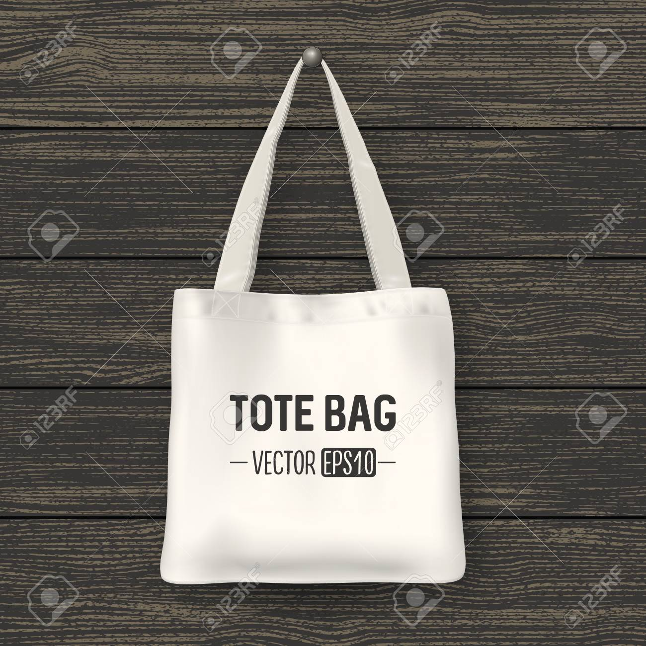 Realistic Vector White Textile Tote Bag Closeup On Wood Background