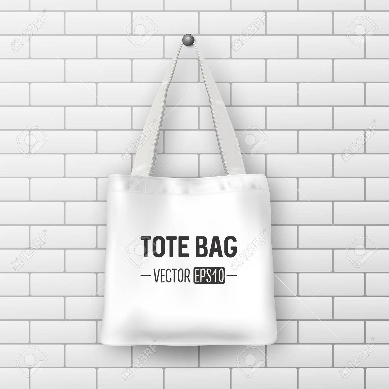 Realistic Vector White Textile Tote Bag Closeup On Brick Wall