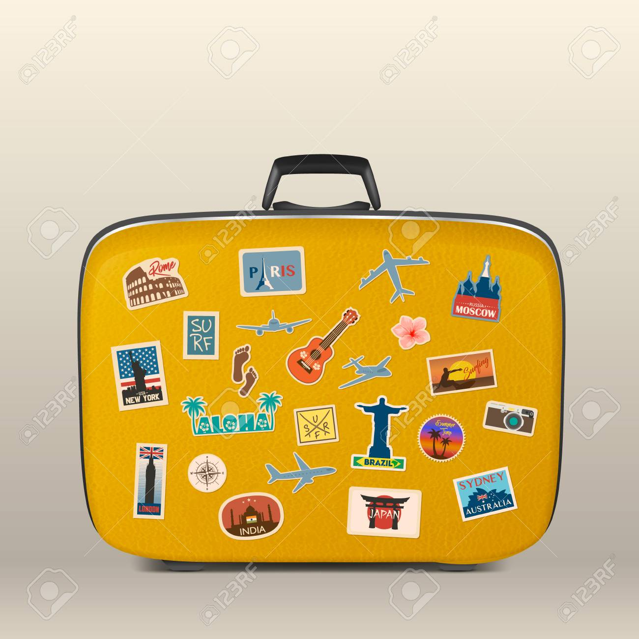 Vector travel stickers, labels with famous countries, cities, monuments and symbols on suitcase in retro vintage style isolated on white. Includes Italy, France, Russia, USA, England, India, Japan etc. - 92641887