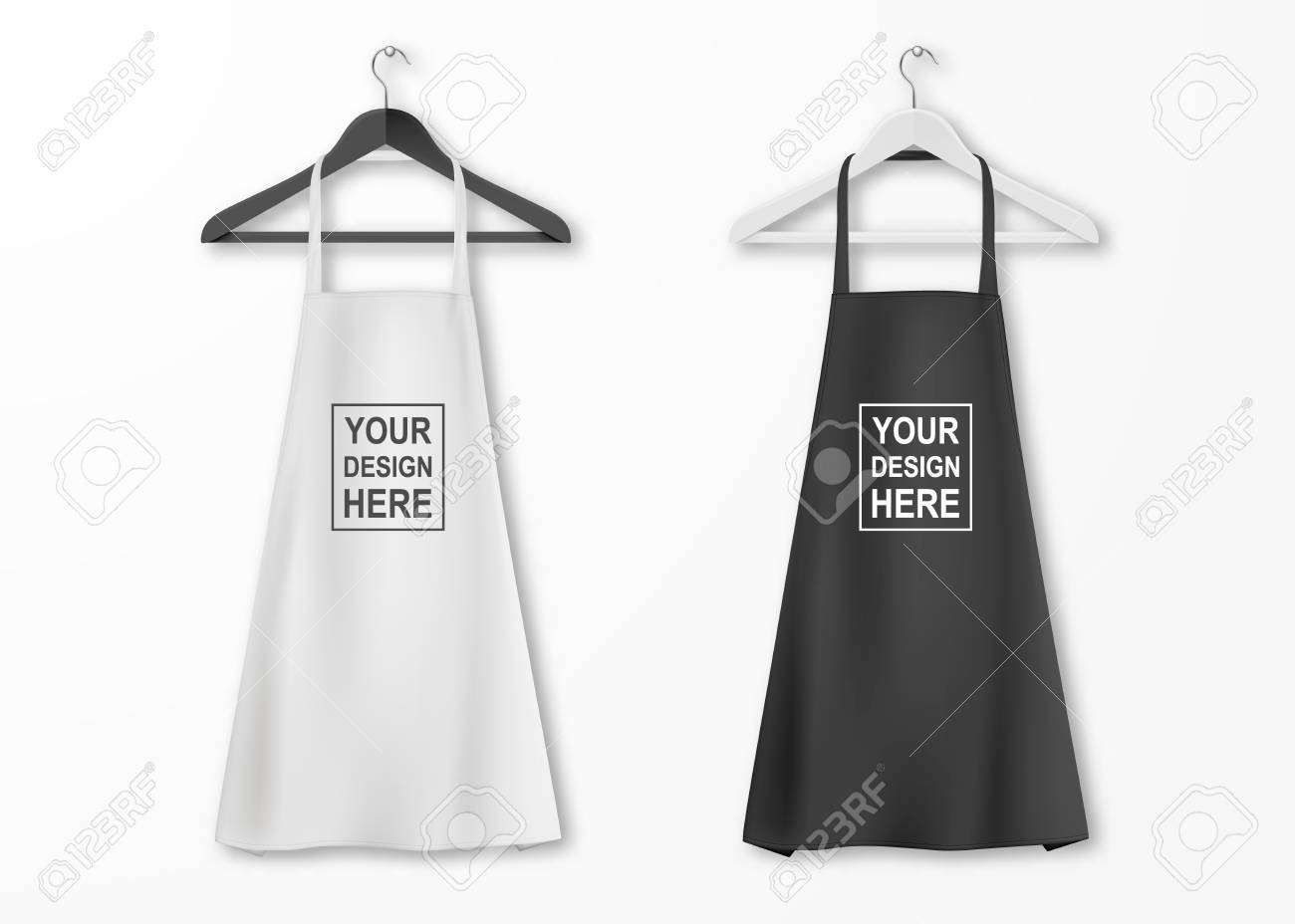 Vector white and black cotton kitchen apron set with clothes..