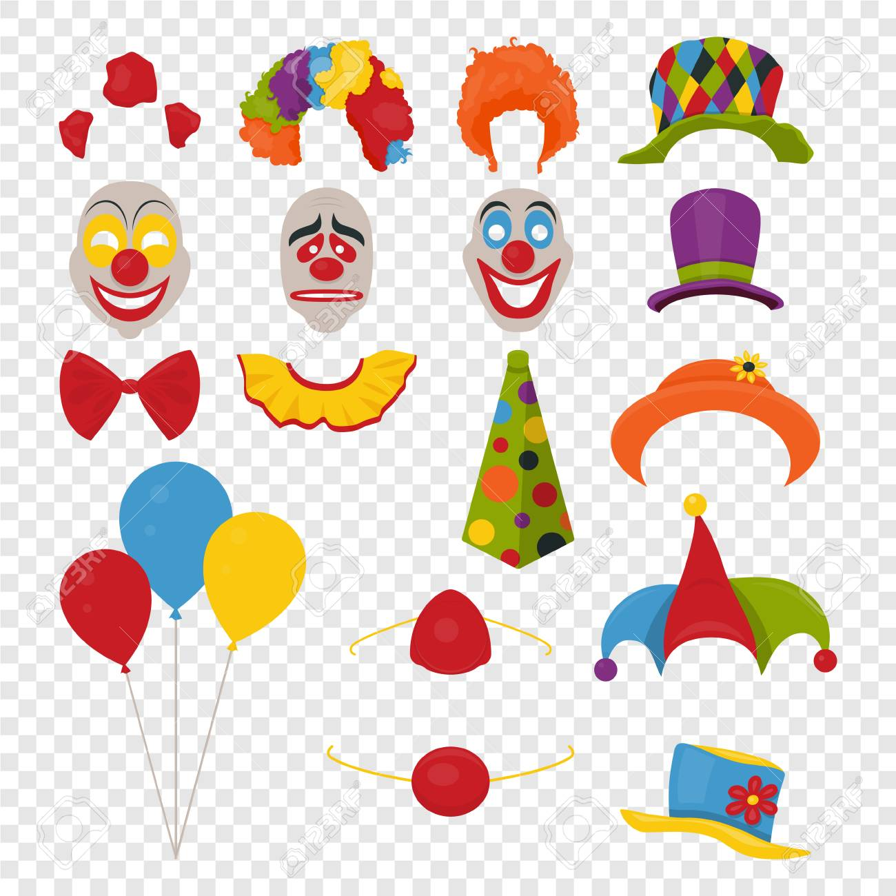 vector vector party birthday or april fools day photo booth props hats wigs neckties clown noses masks balloons and cylinder icon set isolated on