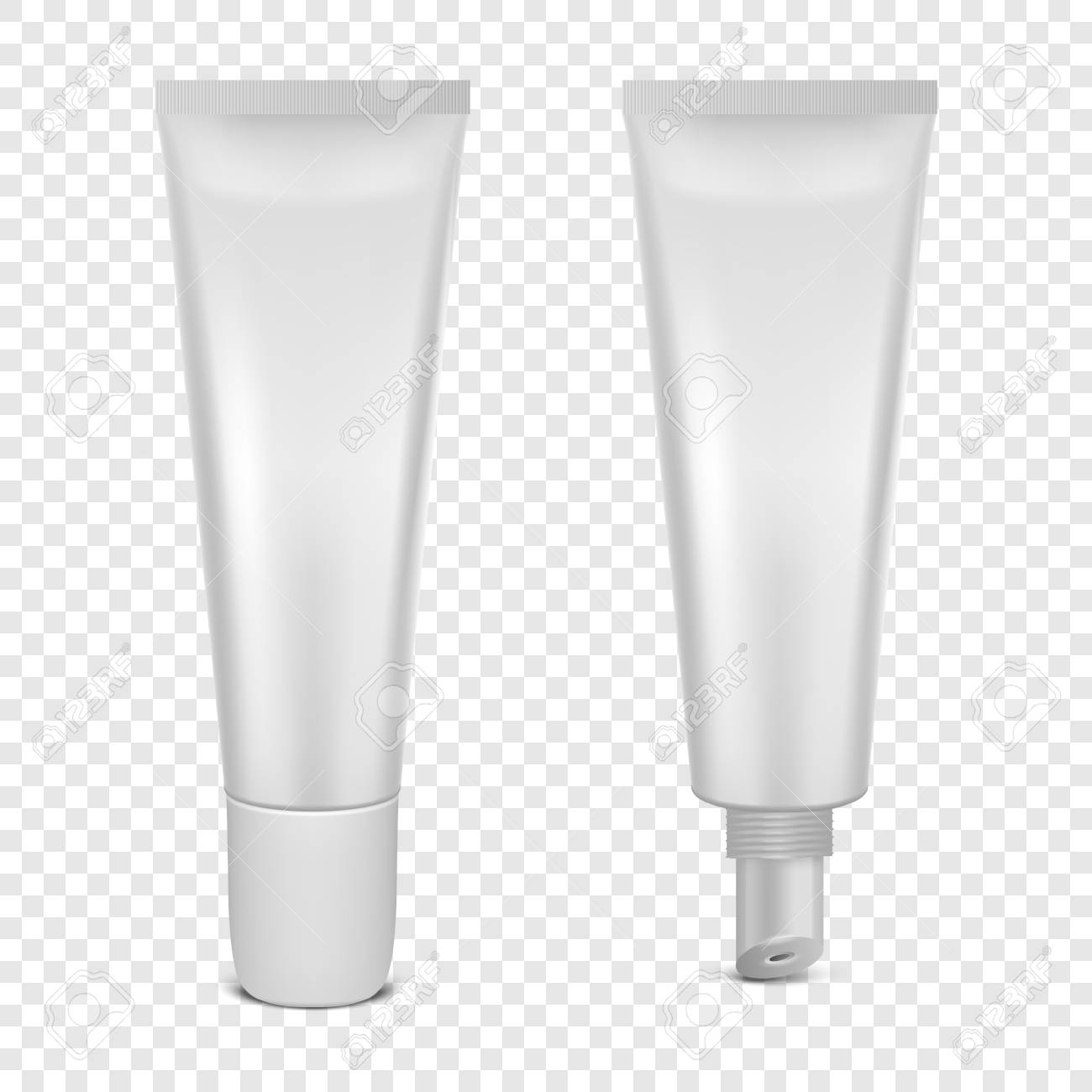 Vector realistic 3d white blank glossy closed and opened lip