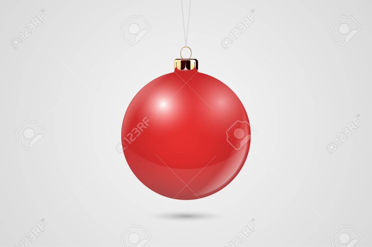 Vector Realistic Red 3d Christmas Glossy Glass Ball Icon, Mock-up Closeup Isolated on White Background. Design Template of Xmas and New Year Tree Toy Decoration Ball for Mockup. Front View. - 126749476