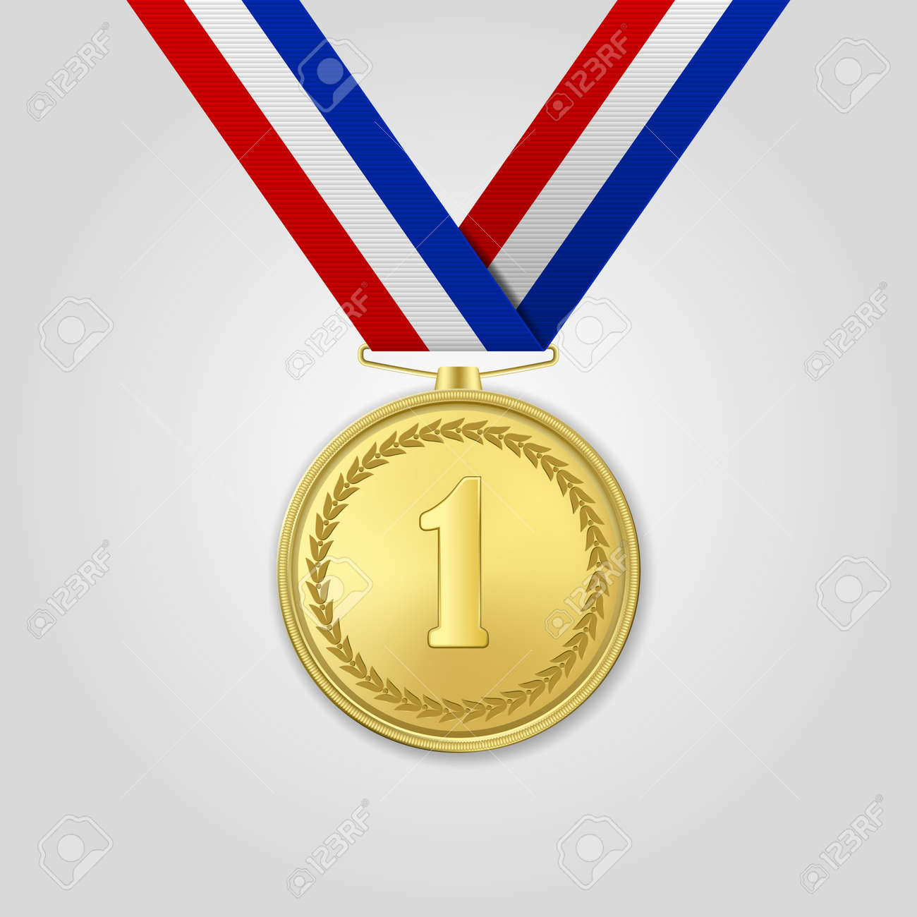 Vector 3d Realistic Gold Award Medal with Color Ribbon Closeup Isolated on White Background. The First Place, Prize. Sport Tournament, Victory Concept - 126411019