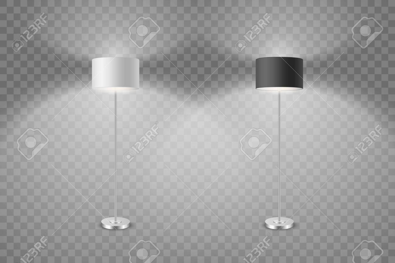 Picture of: Vector Realistic White And Black Illuminated Lamp Set Isolated Royalty Free Cliparts Vectors And Stock Illustration Image 136531163