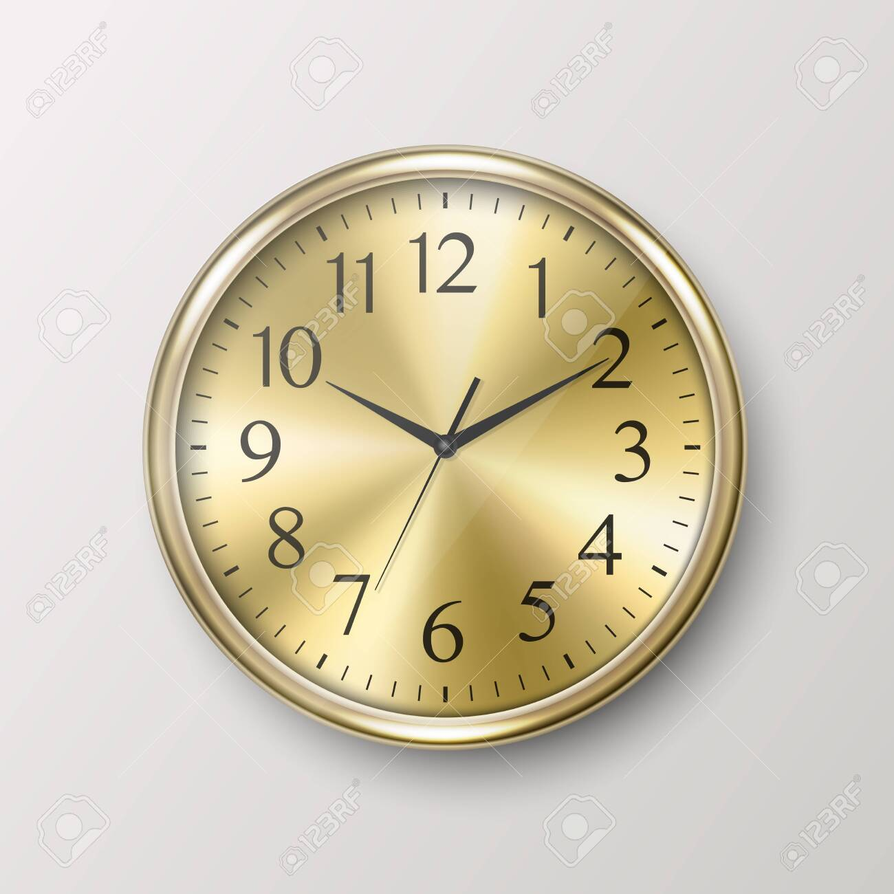Vector 3d Realistic Simple Round Golden Wall Office Clock Icon Closeup Isolated on White Background. Design Template, Mock-up for Branding, Advertise. Front or Top View - 151114492