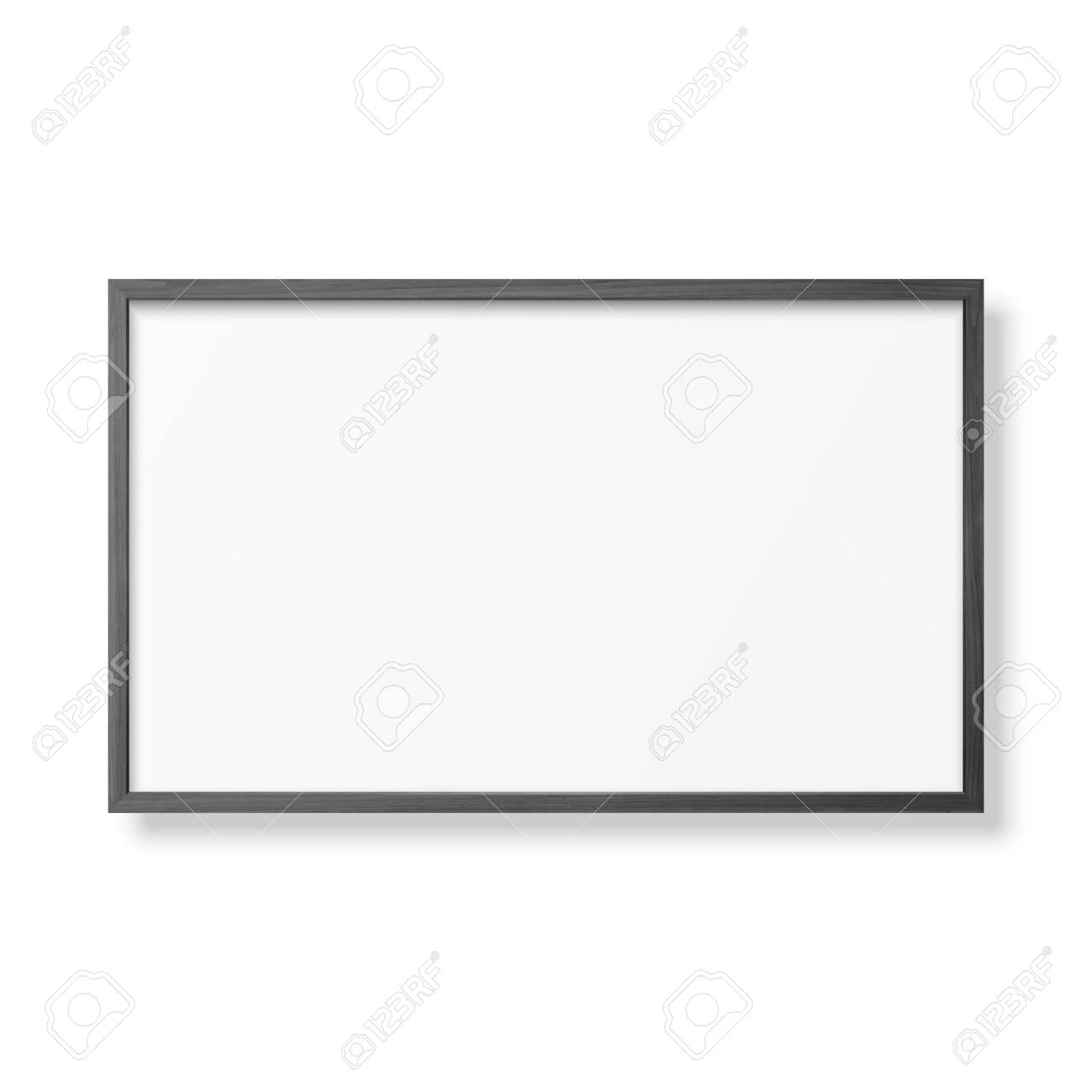 Vector 3d Realistic Horizontal Black Wooden Simple Modern Frame Icon Closeup Isolated on White. It can be used for presentations. Design Template for Mockup, Front View - 152739224