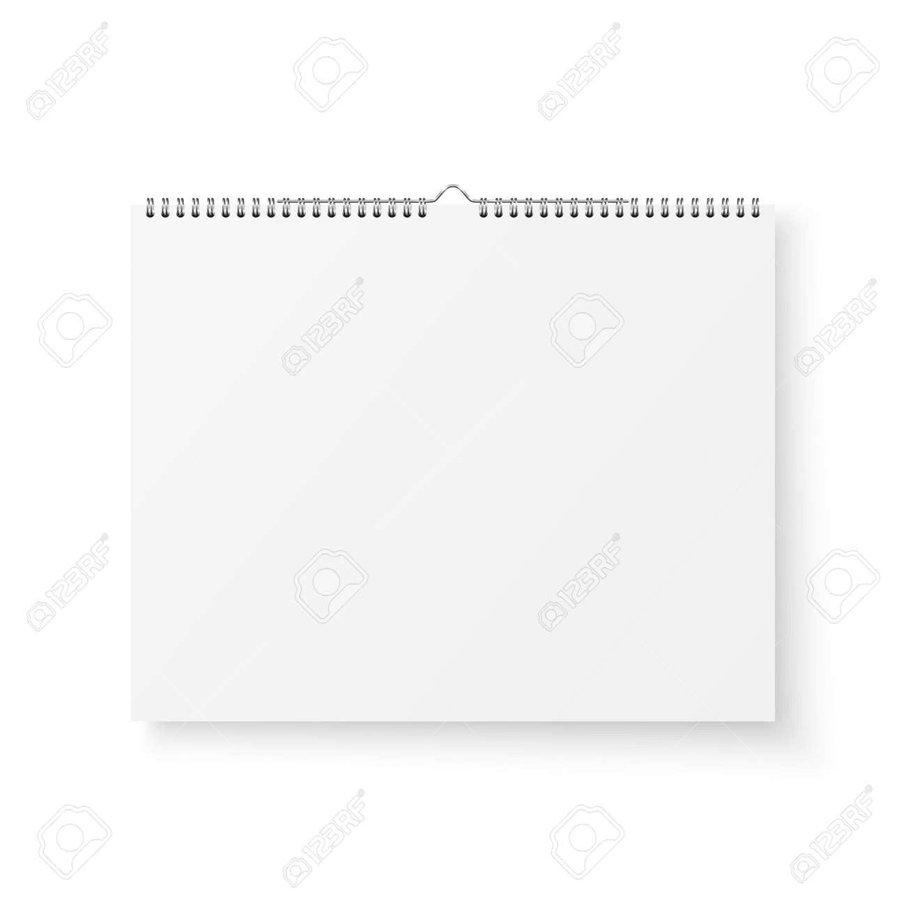 Vector 3d Realistic Paper White Blank Wall Calendar with Spring Icon Closeup Isolated on White Background. Copy Space. Design Template, Mockup, Top View - 155161538