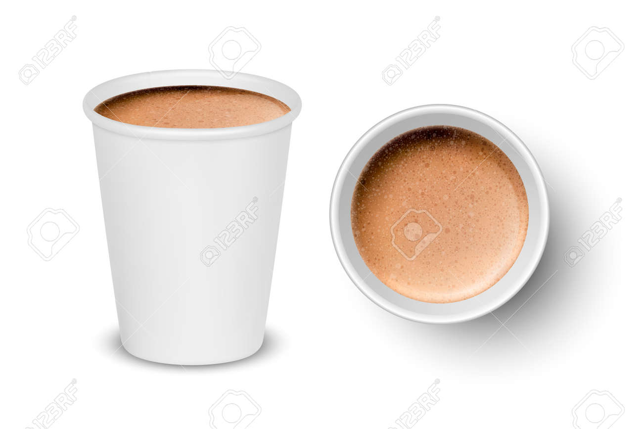 Vector 3d Realistic Paper White Disposable Cup Set Isolated with Milk Coffee Foam Isolated. Latte, Capuccino. Stock Vector Illustration. Design Template. Top and Front View - 165354438