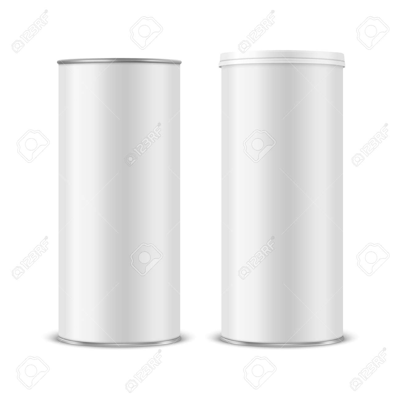 Vector 3d Realistic Blank White Metal Tin Can, Canned Food, Potato Chips Packaging With Lid Set Isolated On White Background. Medium Size. Design Template, Mockup. Front View - 169580851