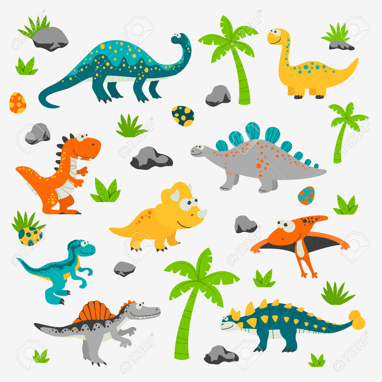Vector Cute and Funny Flat Dinosaurs - 173639541