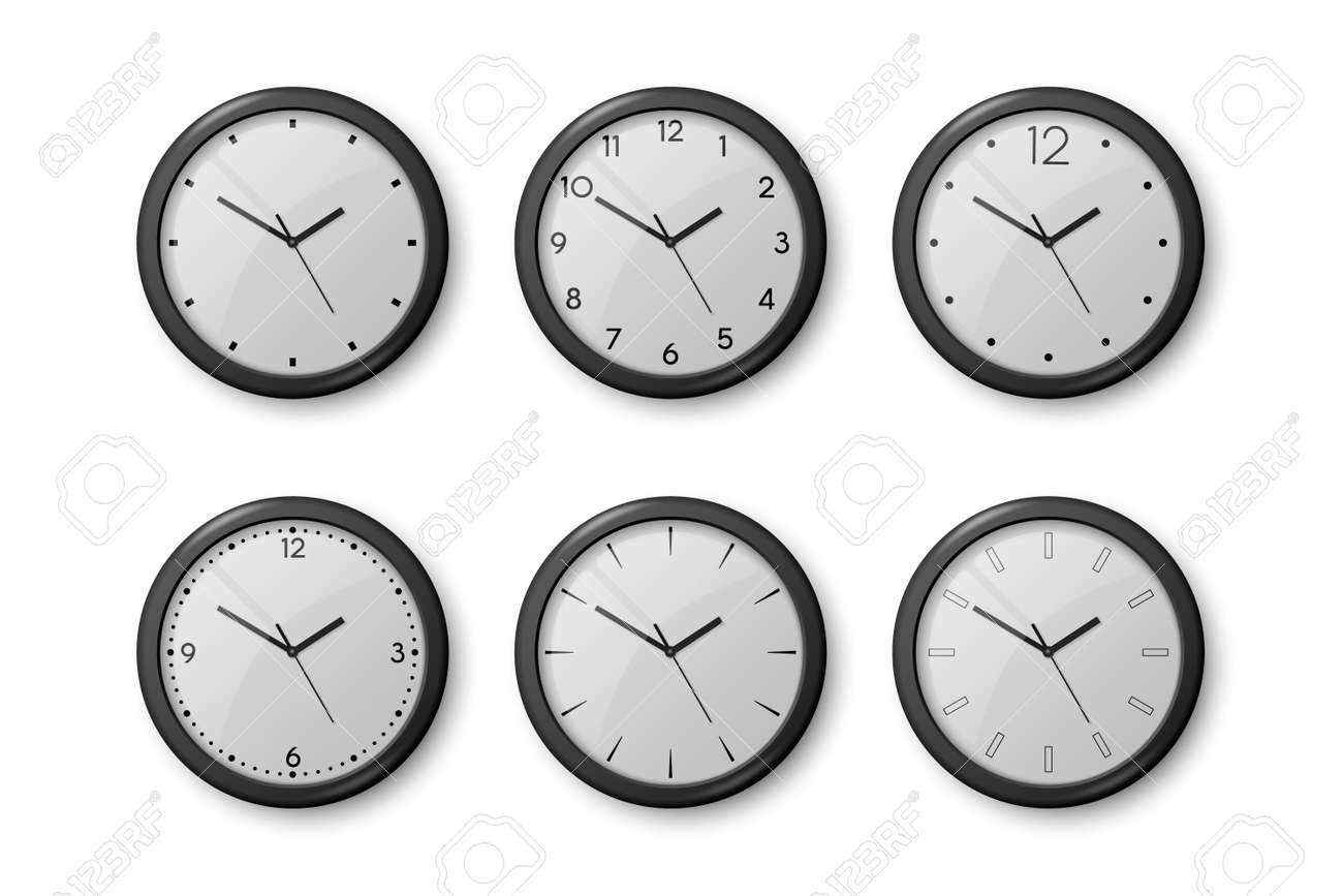 Vector 3d Realistic Black Wall Office Clock Icon Set Isolated on White. White Dial. Design Template of Wall Clock Closeup. Mock-up for Branding and Advertise. Top, Front View - 172655837