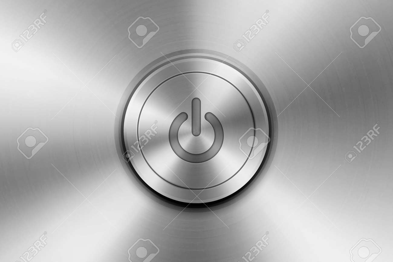 Vector Realistic Grey Silver Yellow Metallic Knob. Circle Button Closeup. Design Template of Metal. Power Volume Playback Control - 172731757