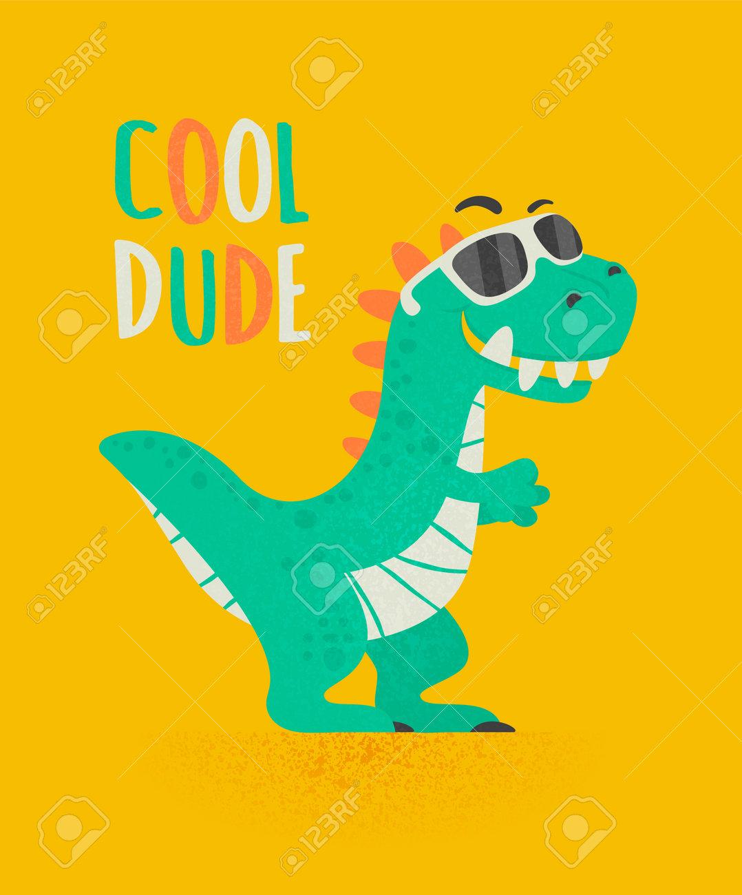 Cool Dude Dinosaur Tirannosaur Three Rex. Cartoon Tirex. Card for a Child. Vector Cute and Funny Cartoon Hand Drawn Dinosaur with Sunglassess, Children s Illustration, Print for Kids - 172733969