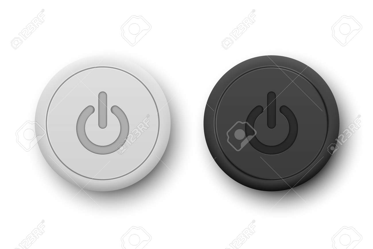 Vector Realistic White and BlackPlastic Knob Set Closeup Isolated on White. Circle Button Icon, Design Template of Power Volume Playback Control. Top, Front View - 172756736