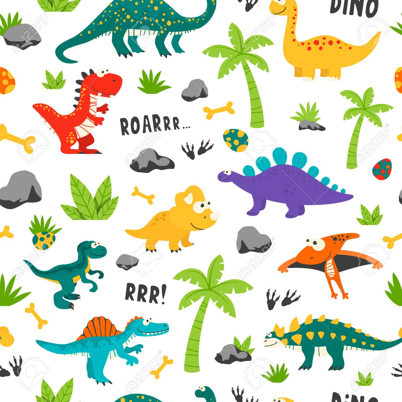 Vector Seamless Pattern. Cute and Funny Flat Dinosaurs - 173639555