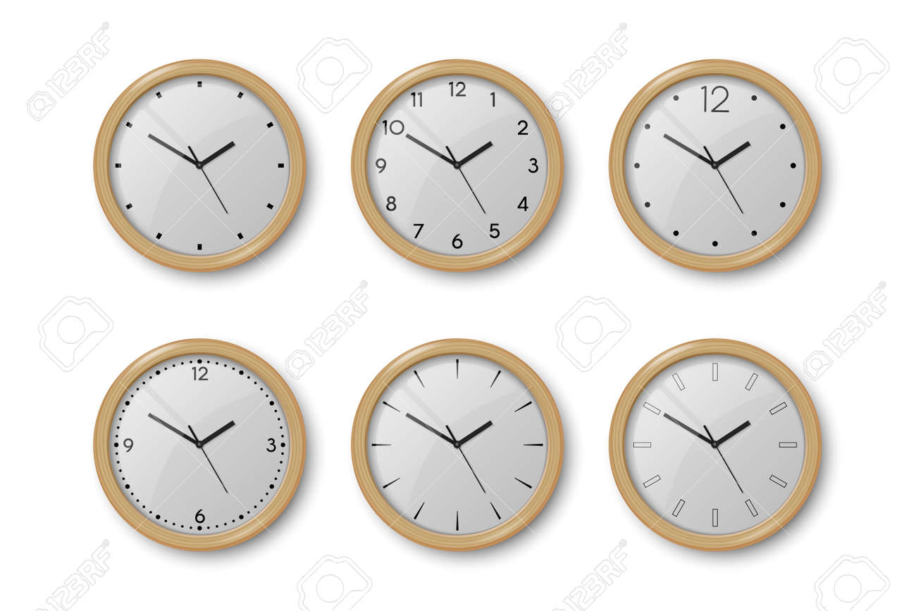 Vector 3d Realistic Brown Wooden Wall Office Clock Icon Set Isolated on White. White Dial. Design Template of Wall Clock Closeup. Mock-up for Branding and Advertise. Top, Front View - 172813560