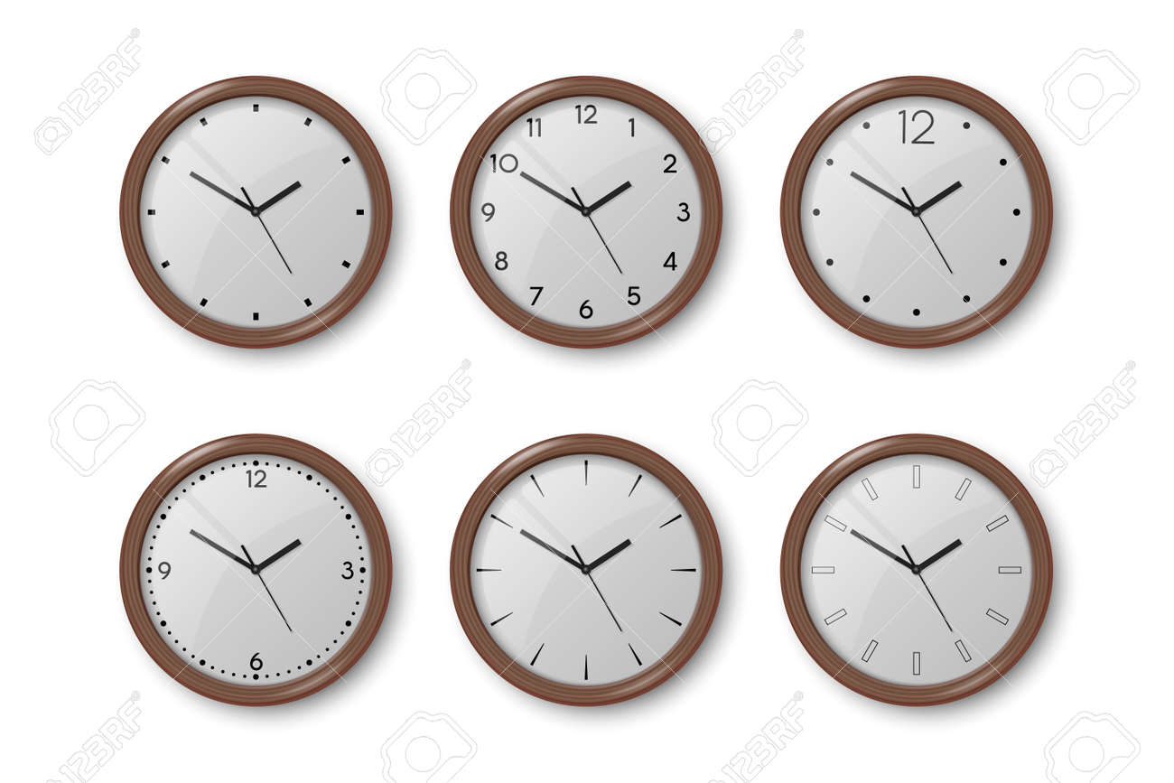 Vector 3d Realistic Dark Brown Wooden Wall Office Clock Icon Set Isolated on White. White Dial. Design Template of Wall Clock Closeup. Mock-up for Branding and Advertise. Top, Front View. - 172860960