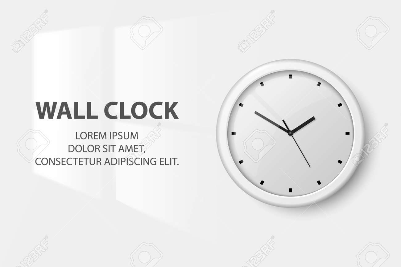 Vector 3d Realistic White Wall Office Clock on White Wall Background. Light from the Window on the Wall in the Interior. White Dial. Design Template of Wall Clock Closeup. Mock-up for Branding. - 172863823