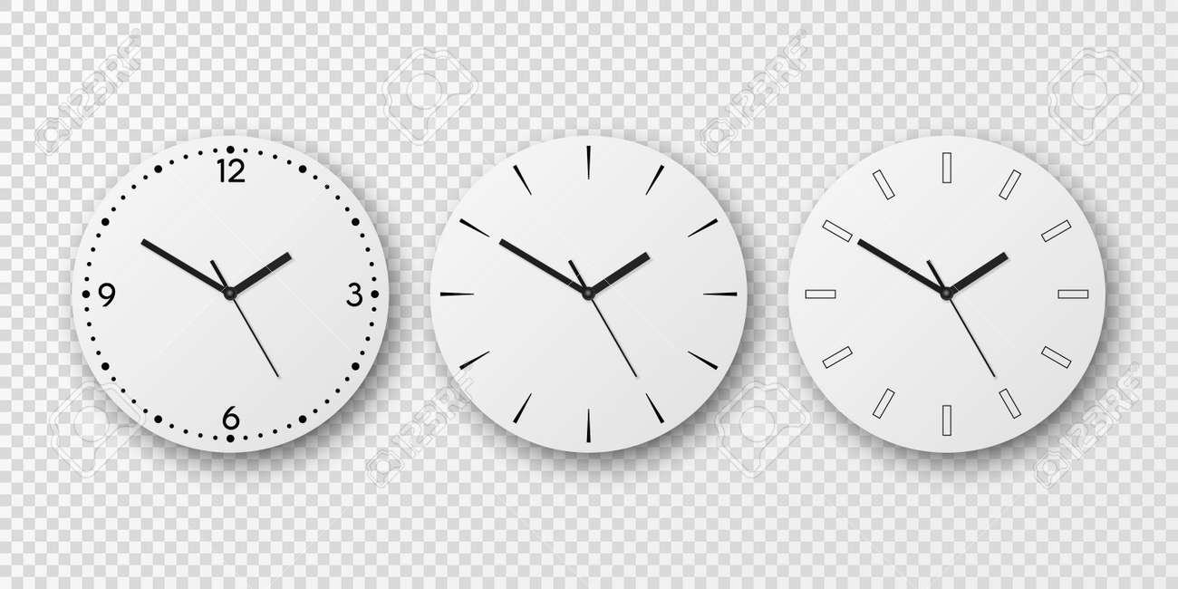 Vector 3d Realistic White Wall Office Clock Dial Icon Set Isolated. White Dial. Design Template, Mock-up for Branding and Advertise. Top, Front View - 172950895