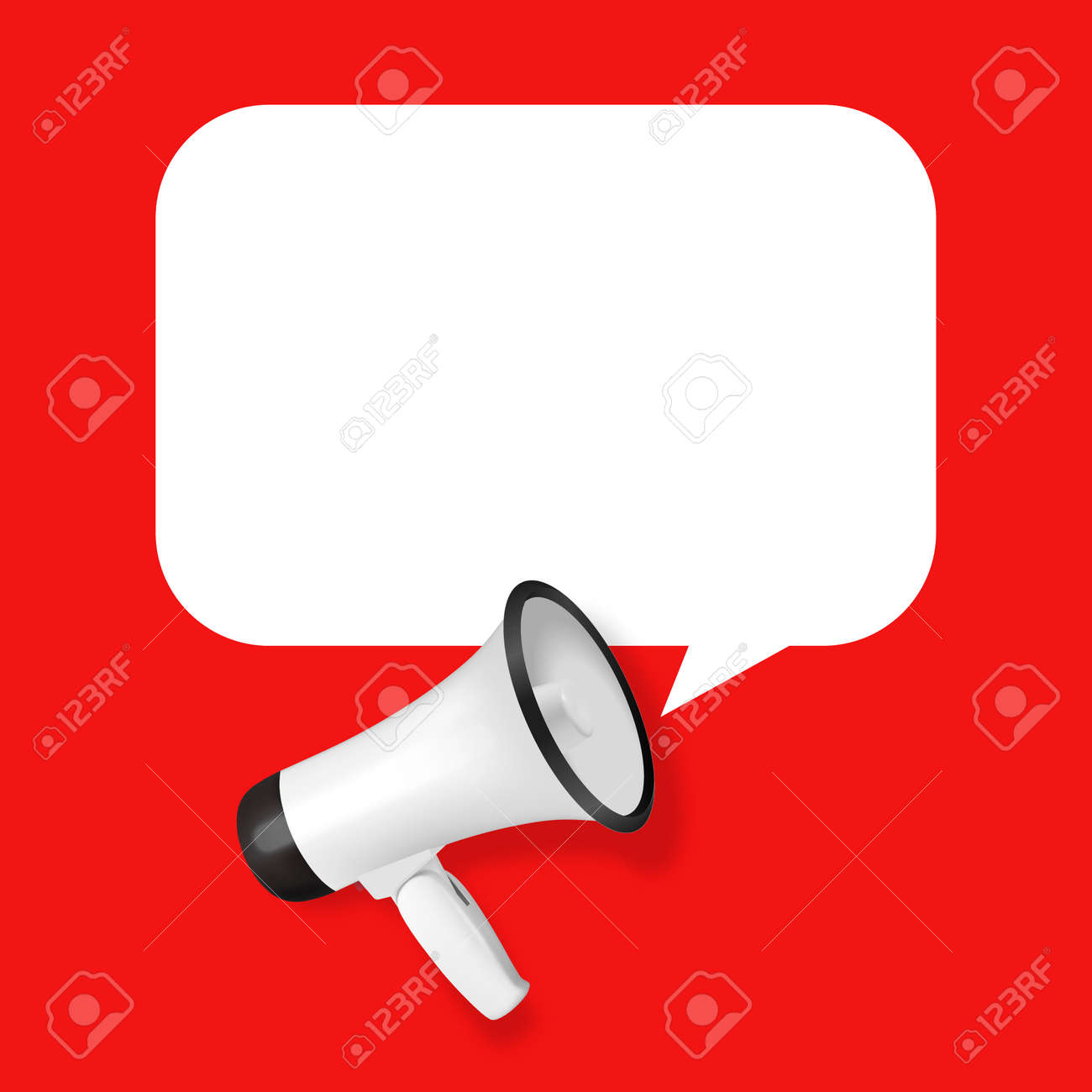 Vector Realistic 3d Simple White Megaphone with Speech Buble on Red Background. Design Template, Banner, Web. Speaker Sign. Announcement, Attention Concept - 173015408