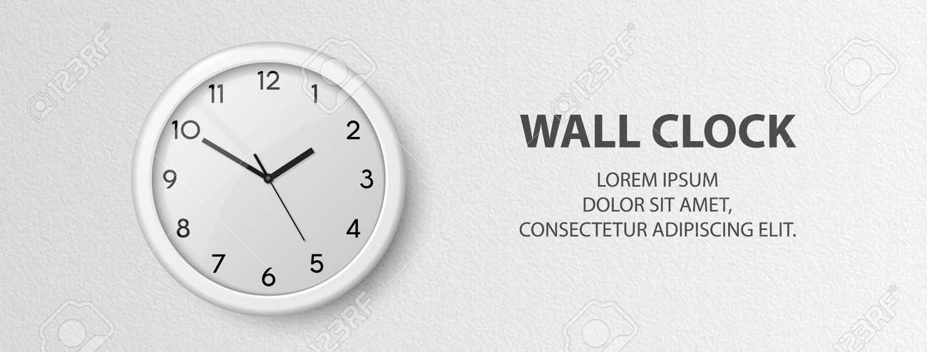 Vector 3d Realistic White Wall Office Clock on Textured White Wall Background. Design Template, Office Clock with White Dial in Interior. Mock-up for Branding - 173080814