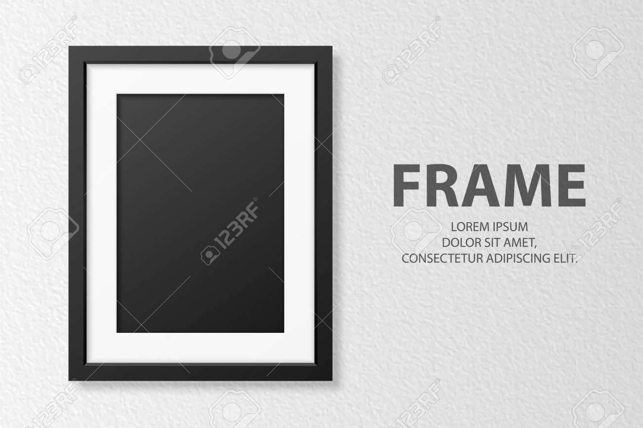 Vector 3d Realistic Blank Vertical A4 Black Wooden Simple Modern Frame on White Textured Wall Background. It Can Be Used for Presentations. Design Template for Mockup, Front View - 173155307