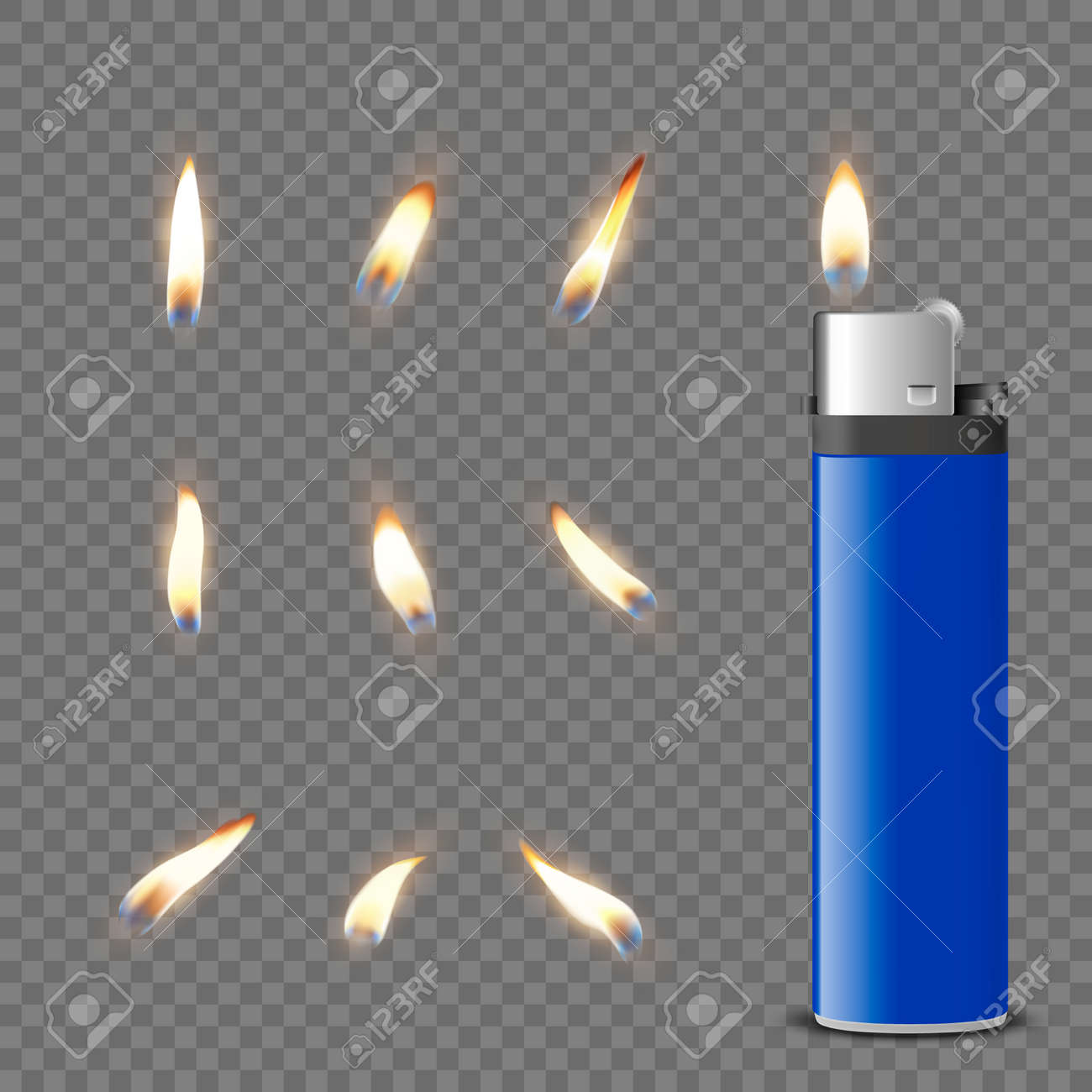 Vector 3d Realistic Blank Blue Gasoline Lighter and Burning Flame Icon Set Closeup Isolated. Fire from a Lighter. Design Template of Lighter Flame. Front View - 173431479