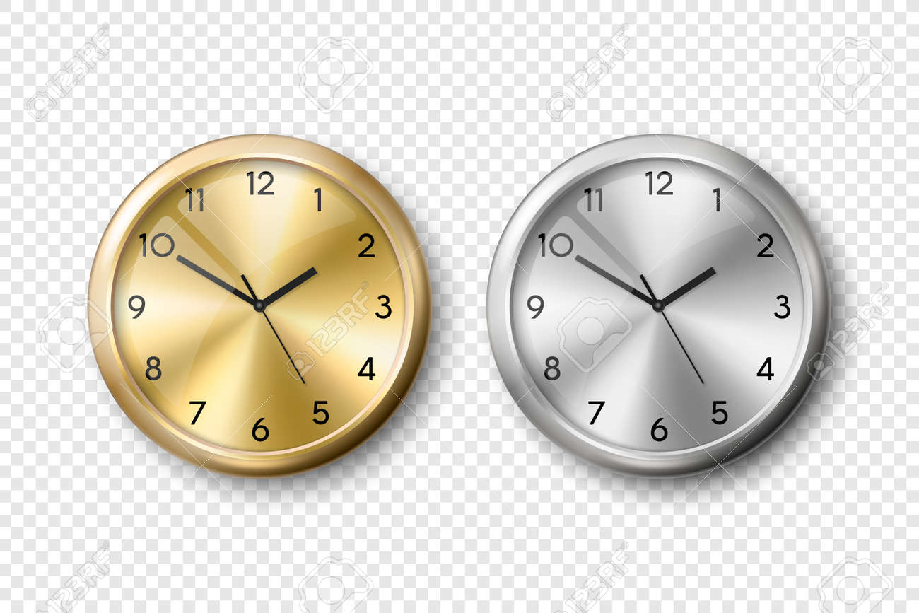 Vector 3d Realistic Yellow Golden and Grey Silver or Steel Wall Office Clock Icon Set Isolated. Metal Dial. Design Template of Wall Clock Closeup. Mock-up for Branding and Advertise. Top, Front View - 173297594