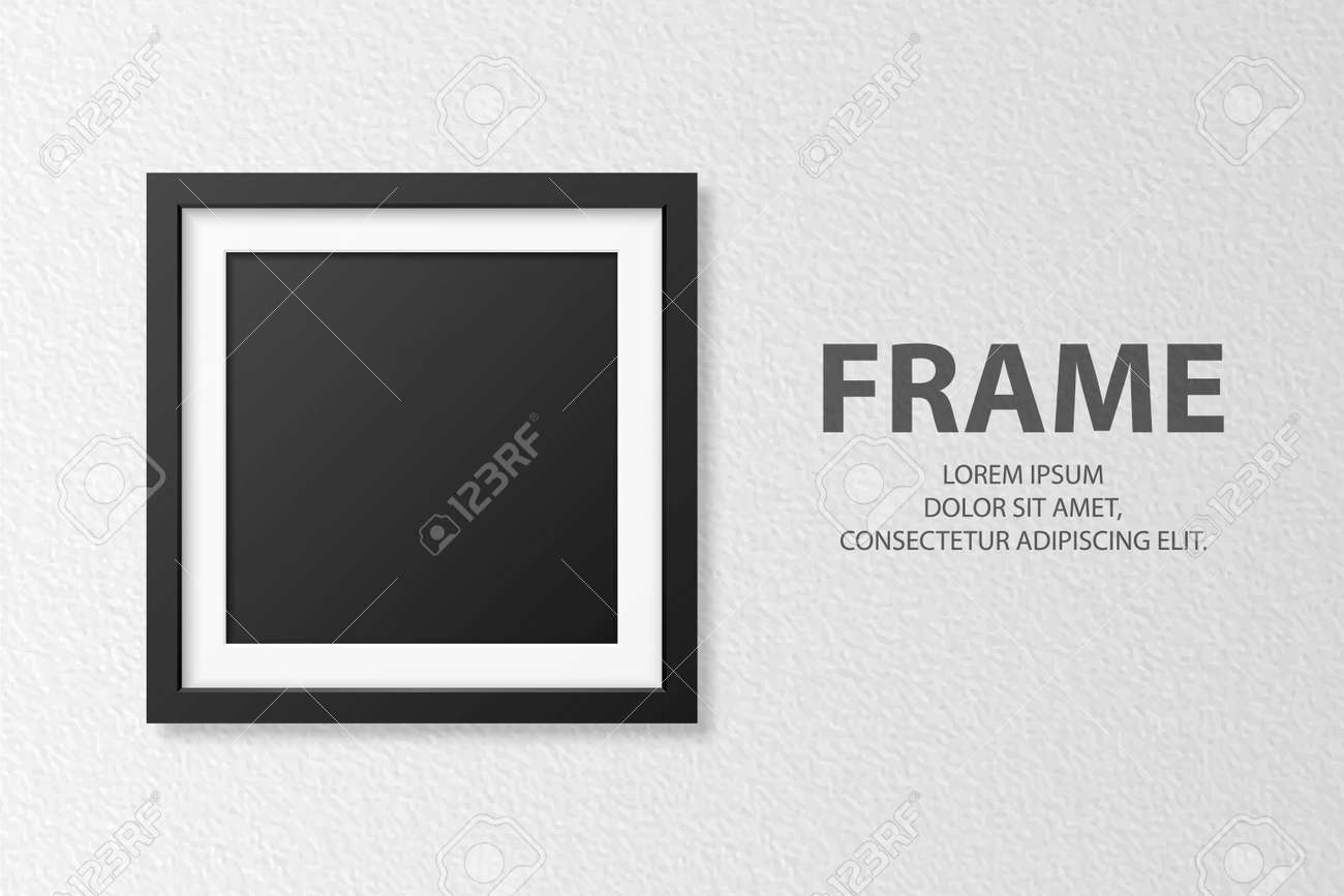 Vector 3d Realistic Blank Square 4 Black Wooden Simple Modern Frame on White Textured Wall Background. It Can Be Used for Presentations. Design Template for Mockup, Front View - 173297807