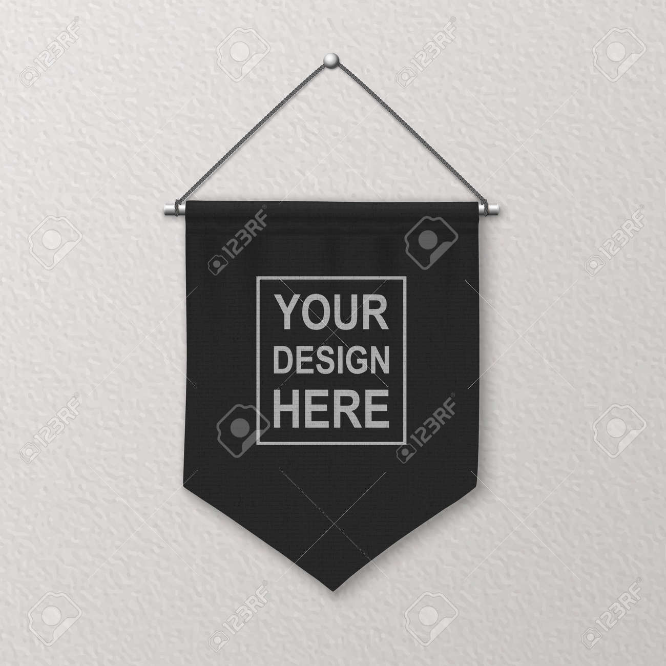 Vector 3d Realistic Blank Black Pennant Wall Hanging, Design Template, Mockup. Linen Pennant Closeup on Textured Wall. Empty Fabric Flag, Advertising Canvas Banner - 173297892