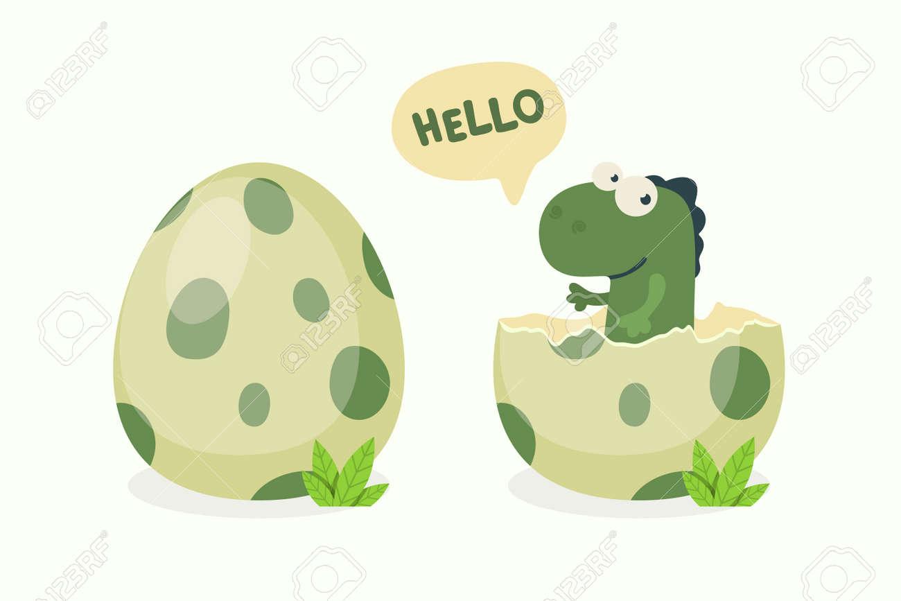 Little Dino. Hatched Little Dinosaur Baby, Child, Kid. Diplodocus, Dinosaur Egg. Cartoon Brontosaurus. Vector Cute and Funny Cartoon Hand Drawn Dinosaur, Children s Illustration, Print for Kids, Card - 173355504