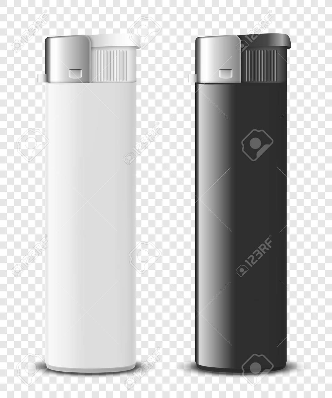 Vector 3d Realistic Blank White and Black Cigarette Lighter Set Closeup Isolated. Design Template for Advertising, Mockup, Corporate Identity. Front View - 173356838