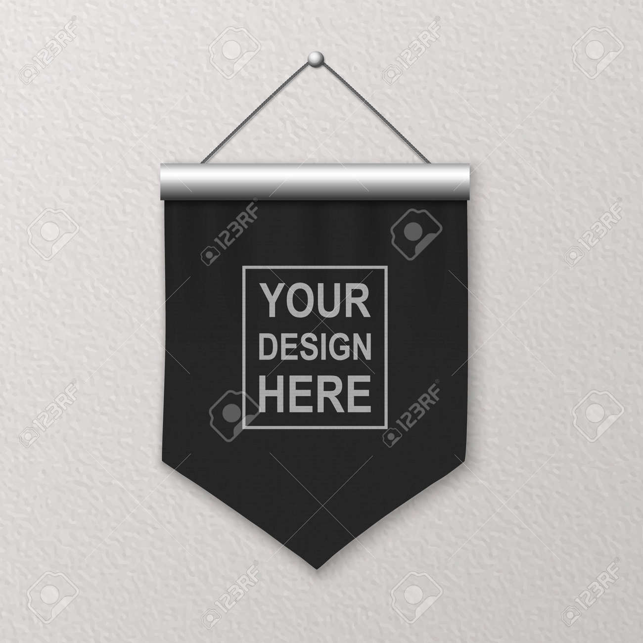 Vector 3d Realistic Blank Black Pennant Wall Hanging, Design Template, Mockup. Linen Pennant Closeup on Textured Wall. Empty Fabric Flag, Advertising Canvas Banner - 173417575
