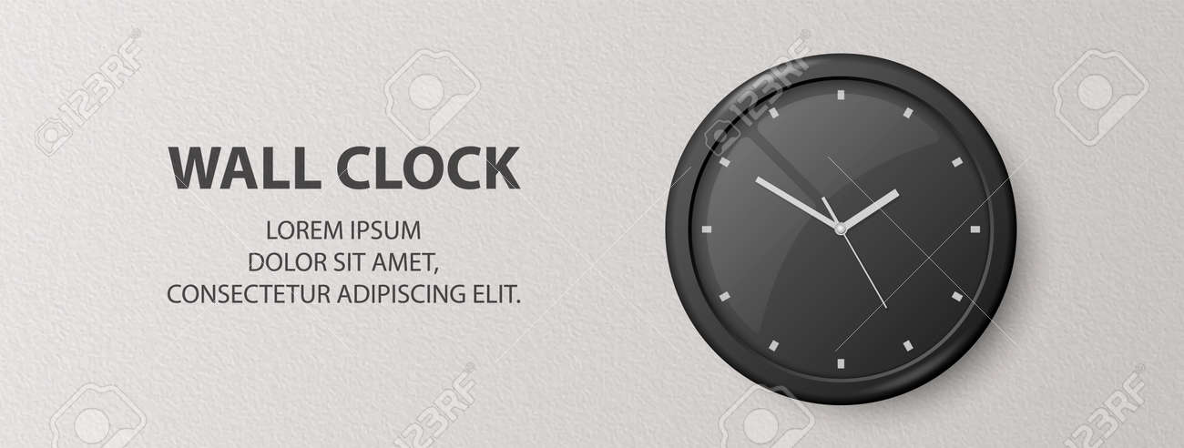 Vector 3d Realistic Black Wall Office Clock on Textured White Wall Background. Design Template, Banner with Office Clock with Black Dial in Interior. Mock-up for Branding - 173417314