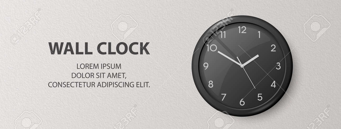Vector 3d Realistic Black Wall Office Clock on Textured White Wall Background. Design Template, Banner with Office Clock with Black Dial in Interior. Mock-up for Branding - 173649711
