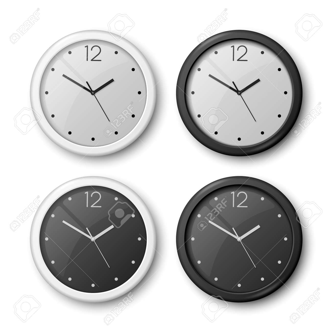 Vector 3d Realistic White, Black Wall Office Clock Icon Set Isolated. White Dial, Black Dial. Design Template of Wall Clock Closeup. Mock-up for Branding and Advertise. Top or Front View - 173532279