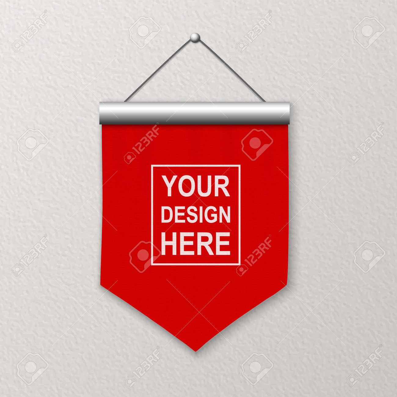 Vector 3d Realistic Blank Red Pennant Wall Hanging, Design Template, Mockup. Linen Pennant Closeup on Textured Wall. Empty Fabric Flag, Advertising Canvas Banner - 173533447