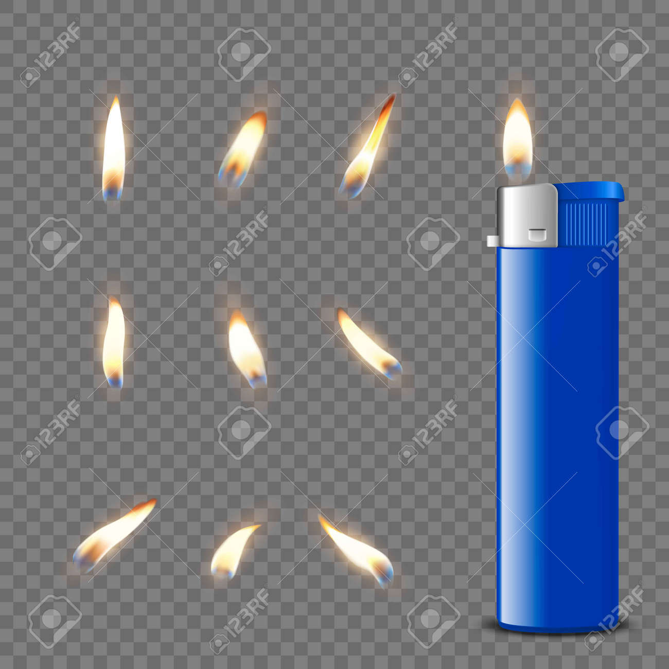 Vector 3d Realistic Blank Blue Gasoline Lighter and Burning Flame Icon Set Closeup Isolated. Fire from a Lighter. Design Template of Lighter Flame. Front View - 173751207