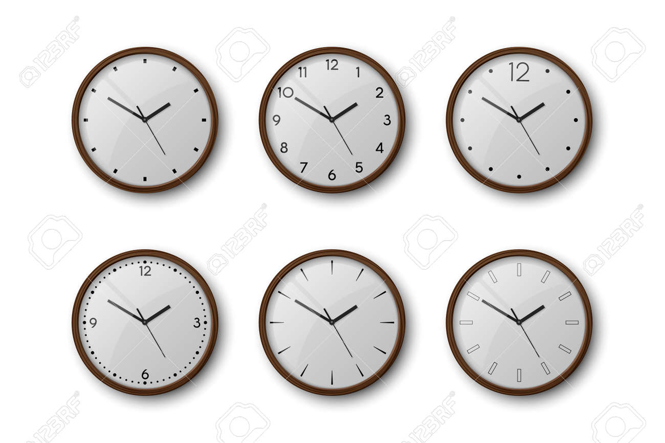 Vector 3d Realistic Brown Wooden Wall Office Clock Icon Set Isolated on White. White Dial. Design Template of Wall Clock Closeup. Mock-up for Branding and Advertise. Top, Front View - 173751230