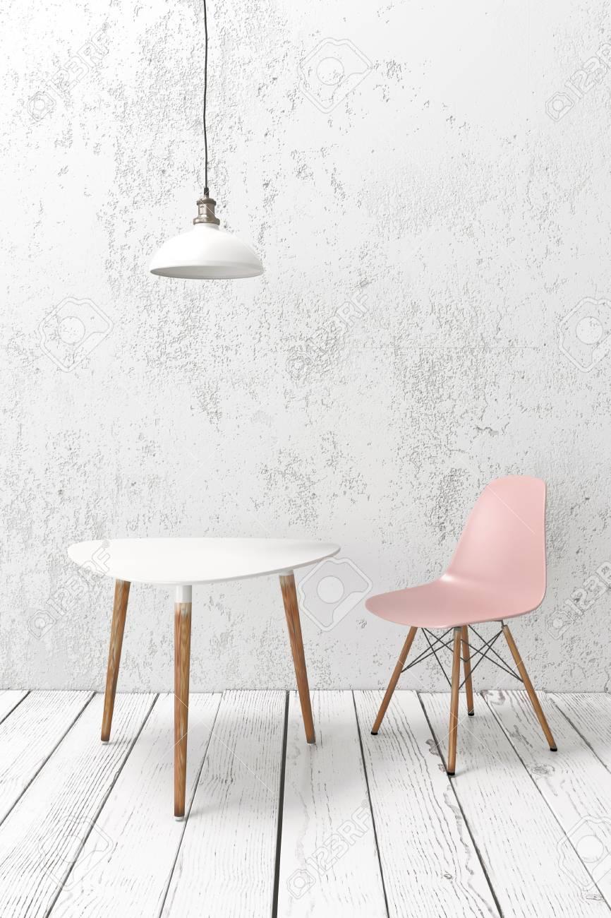 Moderne Café Möbel Auf Holzdielenboden Gegen Die Weiße Wand, Pendelleuchte  Oben Standard Bild