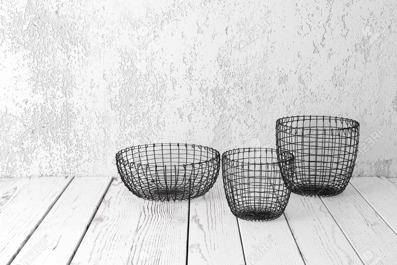 Vintage Wire Baskets On White Wooden Rustic Floor, Industrial ...