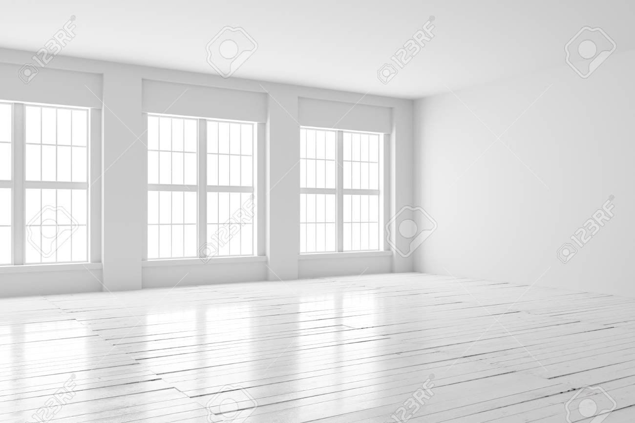 White Empty Room With Big Windows And Wooden Floor. Loft Interior ...