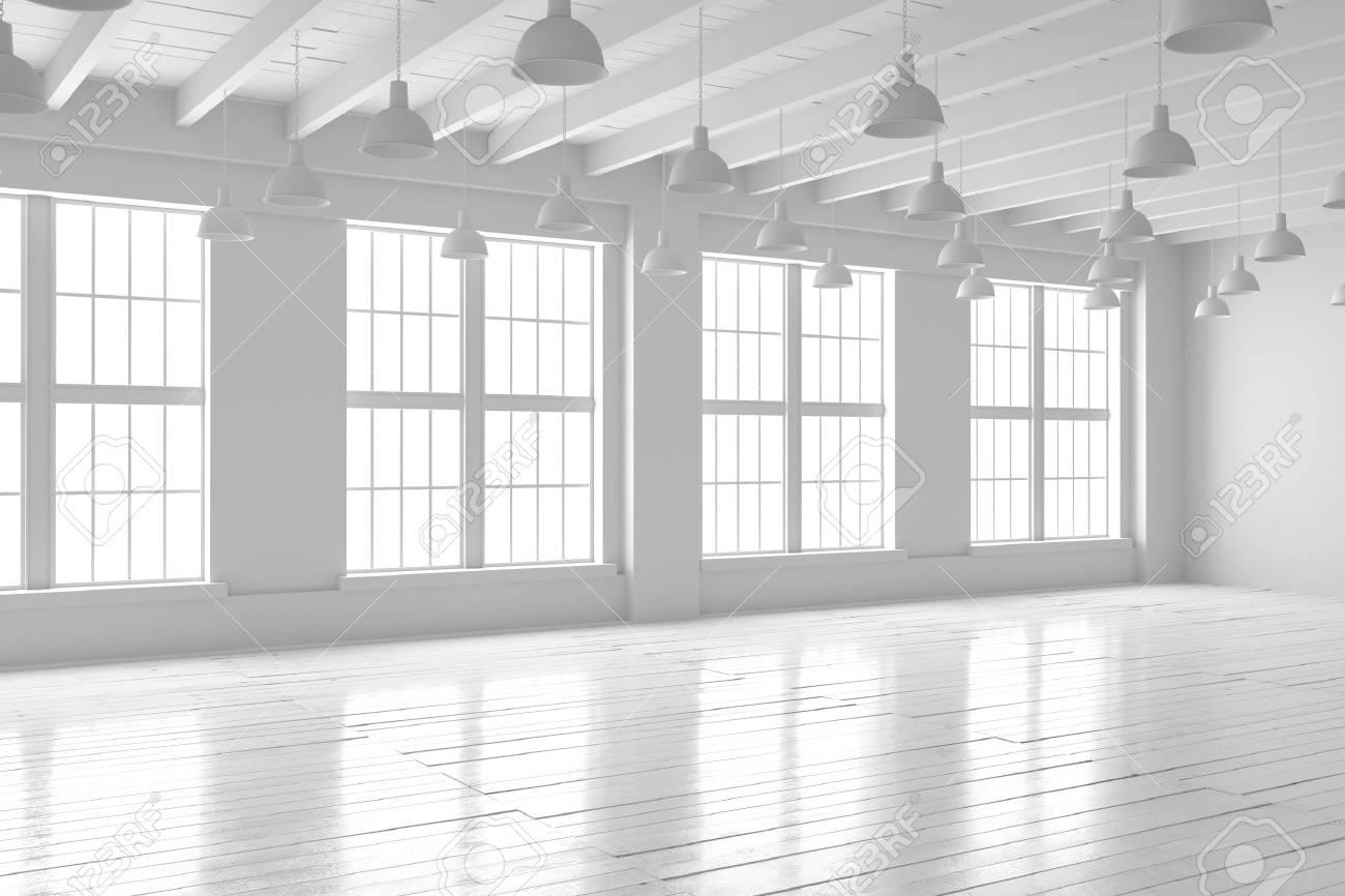 Banque dimages chambre vide blanche avec grandes fenêtres et parquet loft intérieur maquette lespace vide de la maison ou du bureau