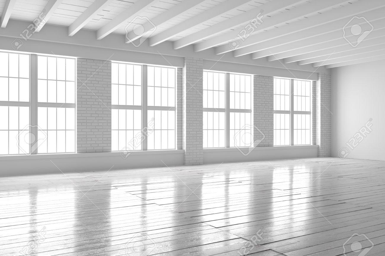 Ladrillo Loft sitio vacío blanco con grandes ventanas suelos de madera y paredes