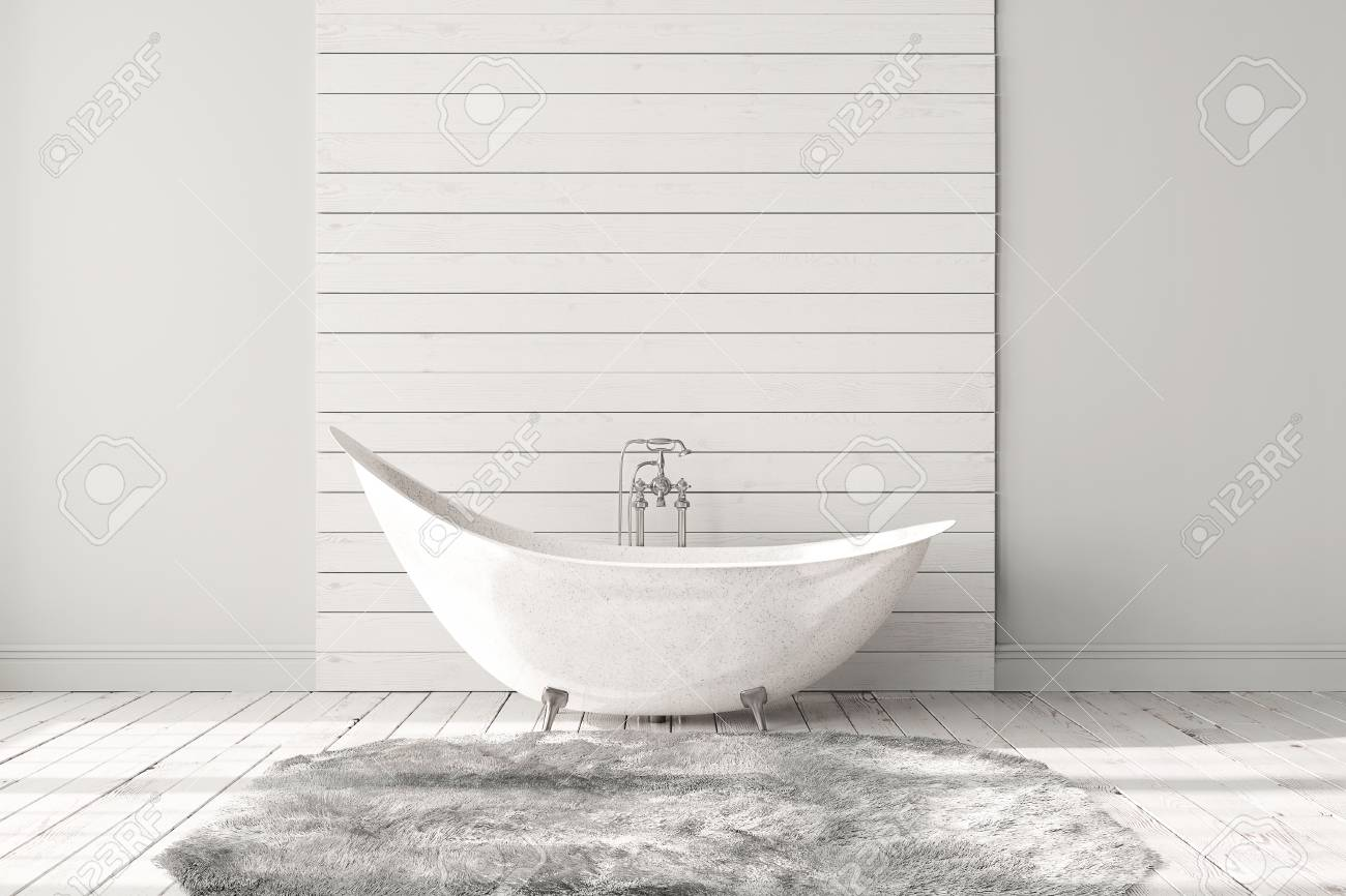 Blank Bright Bathroom With Wooden Floors, Carpet And A Large.. Stock ...