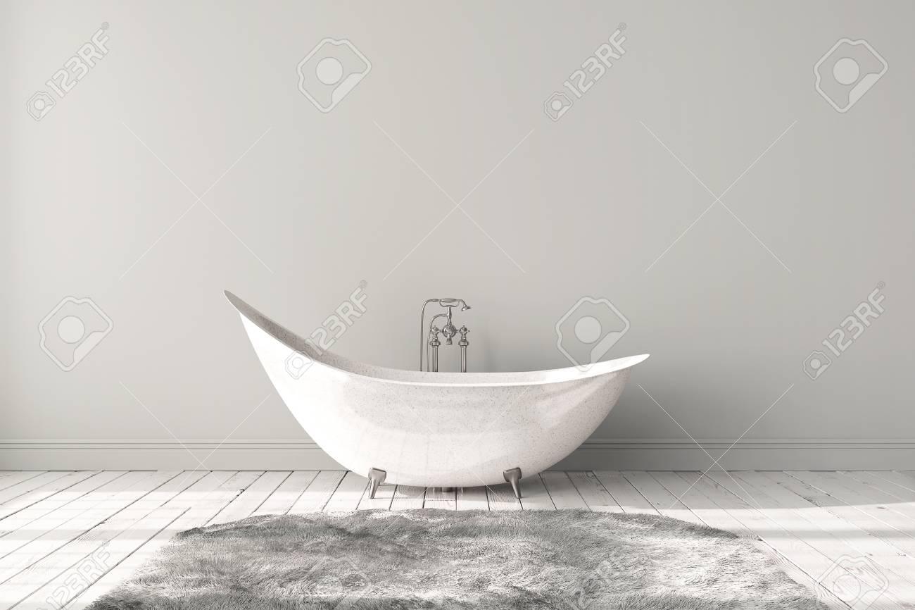 Blank Bright Bathroom With Wooden Floors, Carpet And A Large Bathtub.  Minimalistic Loft Bathroom